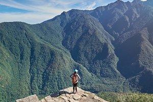 Woman on beautiful mountain