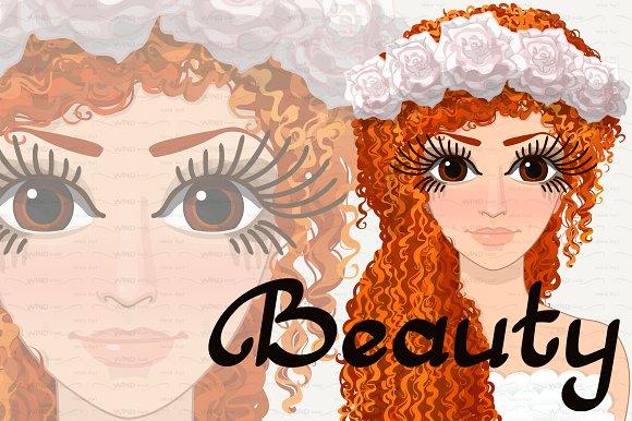 Vector Pretty Woman Redhead