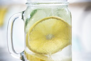 Refreshing glass lemonade