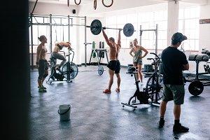 Fitness people doing cross training