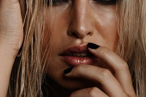 Female model with wet makeup