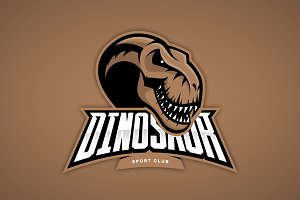 Dinosaur mascot sport logo design