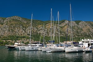 Yachts in harbor of town Kotor