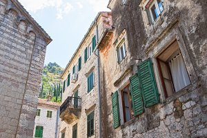 Old houses in town Kotor