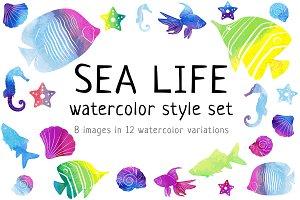 Sea life watercolor style set