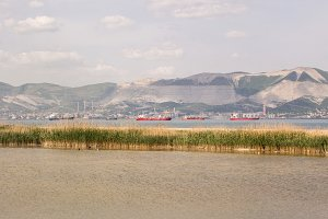 Red and blue cargo ships in the bay of Novorossiysk