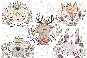 Crowned Forest Animal Portraits