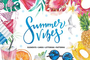 Summer vibes - watercolor bundle