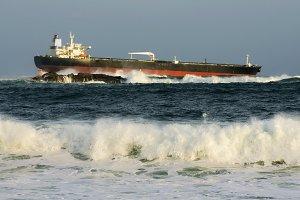 crude oil tanker in danger
