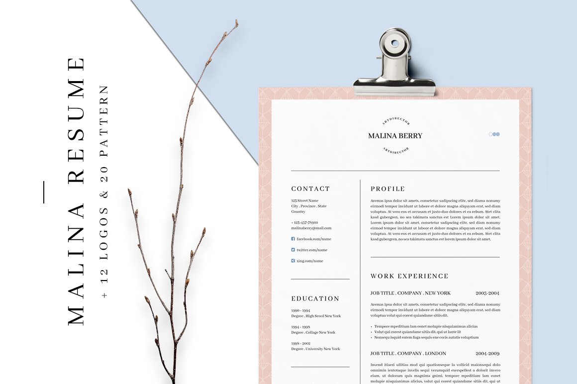 malina resume 3 pages bonus resume templates creative market