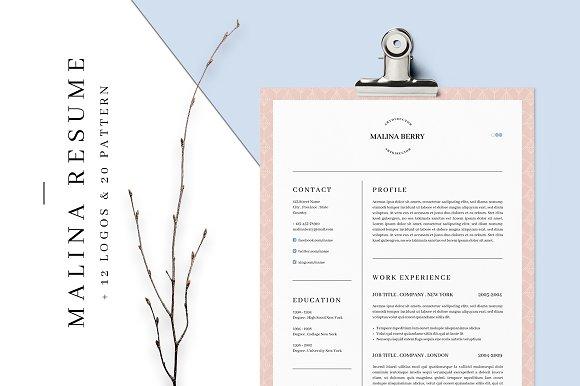 malina resume 3 pages bonus resume templates creative market