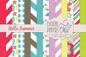 Hello Summer Digital Papers