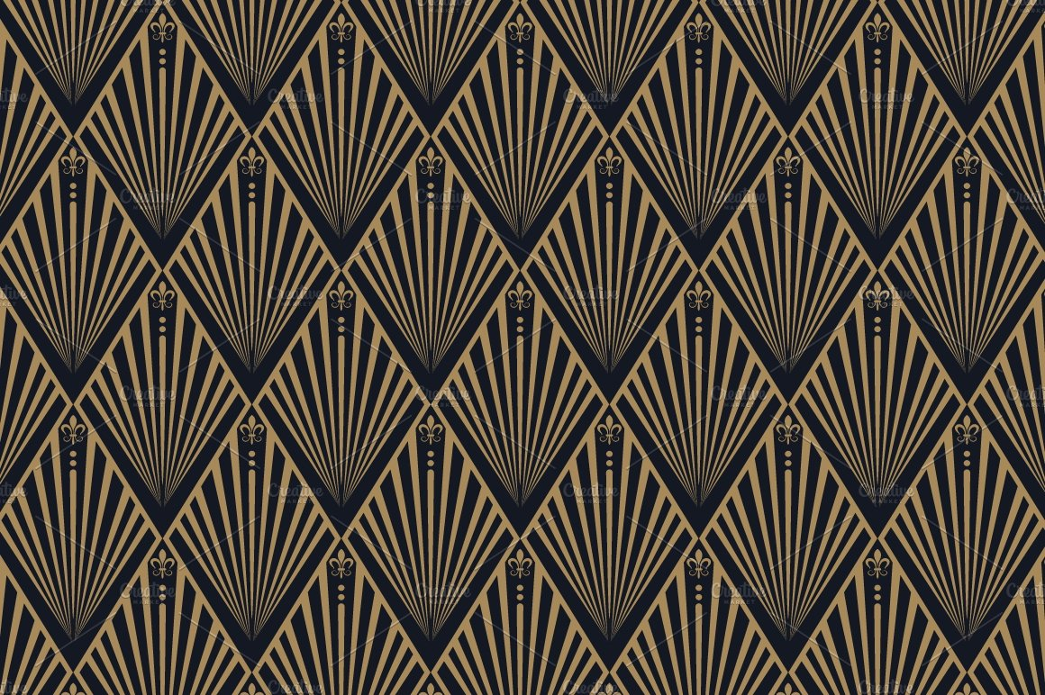 art deco seamless wallpaper patterns creative market. Black Bedroom Furniture Sets. Home Design Ideas
