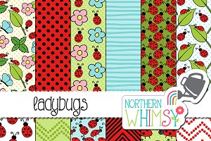 Ladybugs Seamless Patterns
