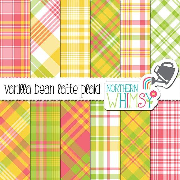 Spring Plaid Vanilla Bean Latte