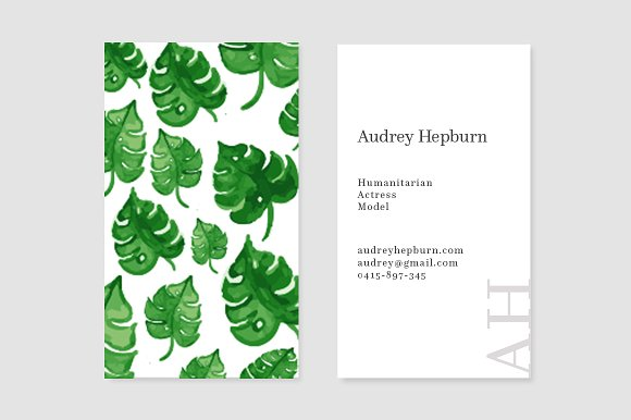 Palm Leaves Business Card Template Cards