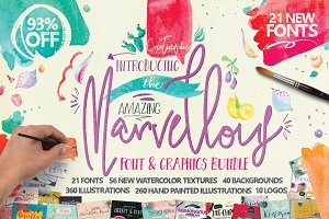 Font & Watercolor Bundle 93% OFF