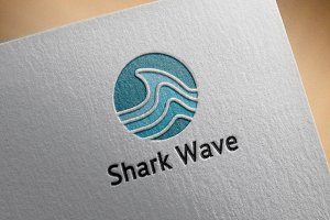 Shark Wave in Circle Shape Logo
