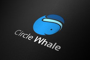 Circle Whale Big Fish Cute Logo