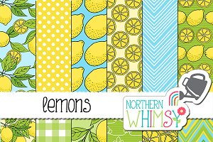 Lemon Seamless Patterns