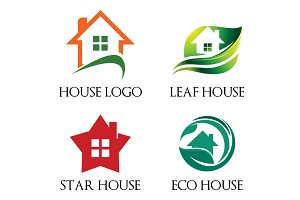 4 Unique House Home Residential Logo