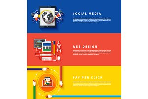 Icons for web design, seo, social