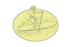 Surfer Dude Stand Up Paddle Oval