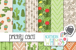 Cactus Seamless Patterns