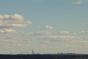 Industrial landscape - silhouette in front of clouds