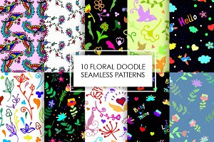 10 Seamless doodle patterns