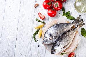 Fresh raw fish dorado