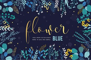 BLUE Flower-Leaves hand drawn vector