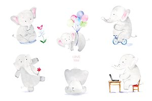 Elephants Watercolor Collection