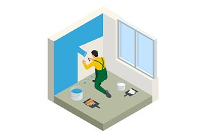 Isometric Paintroller painting white wall with roller blue paint. Flat 3d modern vector illustration. Paintroller, people occupations, profession.