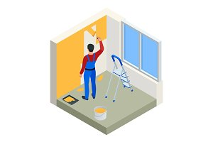 Isometric Paintroller painting white wall with roller red paint. Flat 3d modern vector illustration. Paintroller, people occupations, profession.