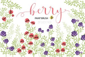 Berry Hand drawn vector brushelement