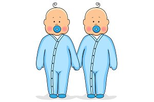 Twins as cute babies holding hands