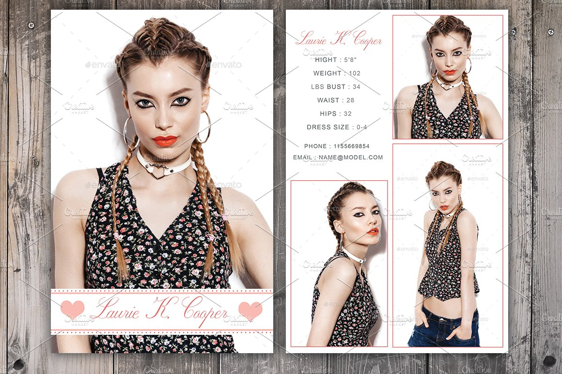 Modeling Comp Card Template Card Templates Creative Market - Model comp card template