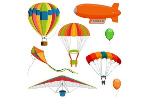 Set of blimp, paraglider and kite, air balloon and parachutes realistic vector