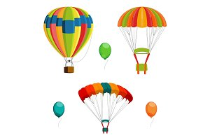 Set of colorful air balloon and parachutes realistic vector illustration