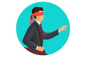 Closeup profile of blindfolded man in suit vector illustration isolated