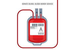 Donate blood donor service plastic bag red icon vector illustration isolated