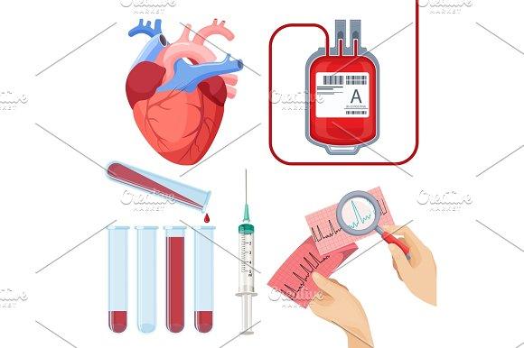 Donate Blood Concept Vector Illustration Set Donor Service Equipment