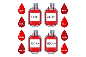 Drops with typed blood groups and donating donor service plastic bags