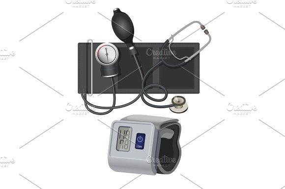 Manometer Instrument For Measuring Blood Pressure Realistic Vector Illustration