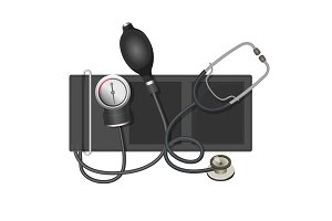 Auscultatory method aneroid sphygmomanometer with stethoscope, bulb,