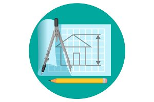 Blueprint icon with project of house, compasses and pencil