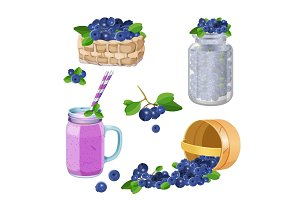 Wooden underlying basket with blueberries realistic vector illustration