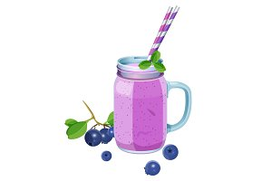 Blueberry smoothie in glass jar with handle, two straws