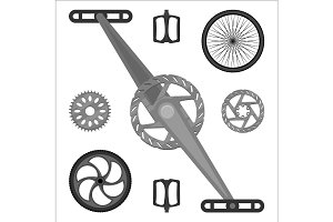 Multispeed BMX bike brake parts, pedals, peg gears and wheels